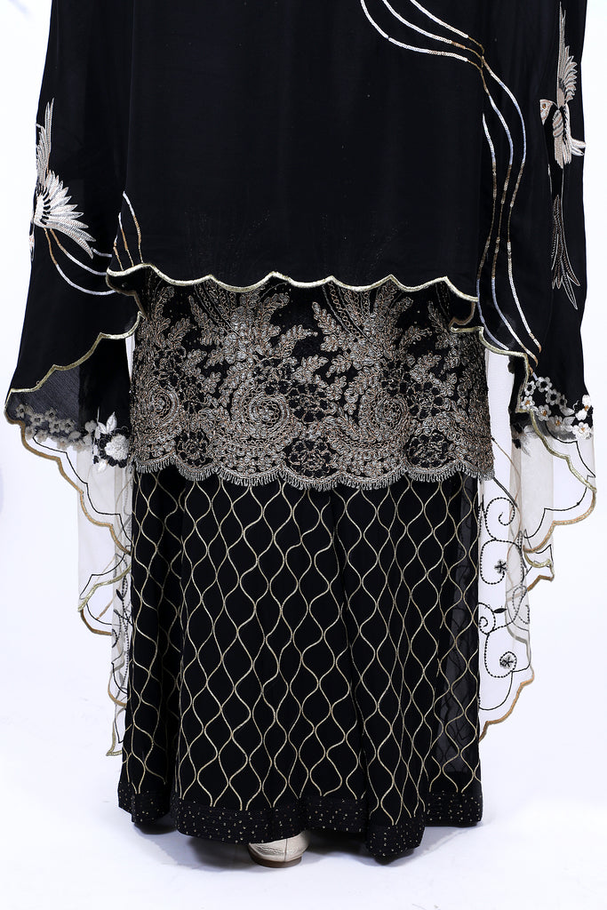 After Dark Embroidered Shirt With Gharara Set