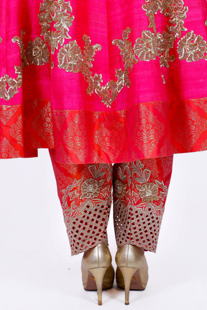 Paradise Pink Embroidered Shirt With Straight JM Salwar Set