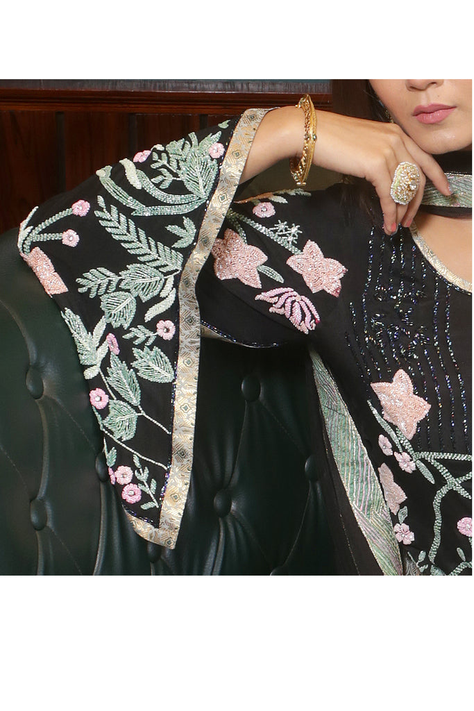 Black Embroidered Suit With Brocade Sharrara Set
