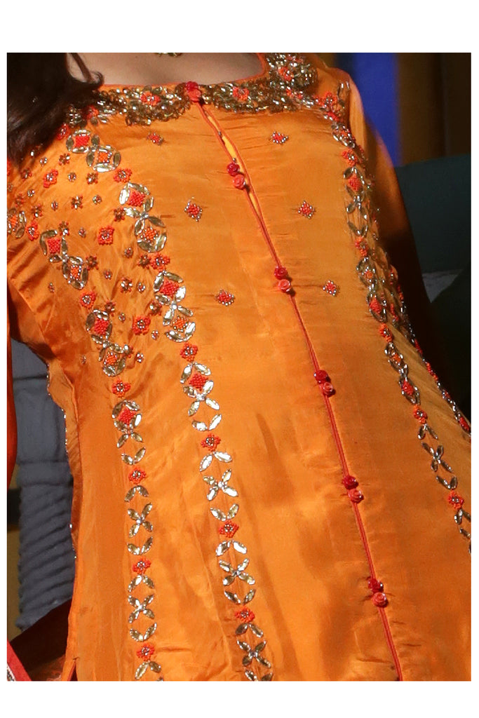 Apricot Embroidered Suit With Three-Kali Sharrara Set