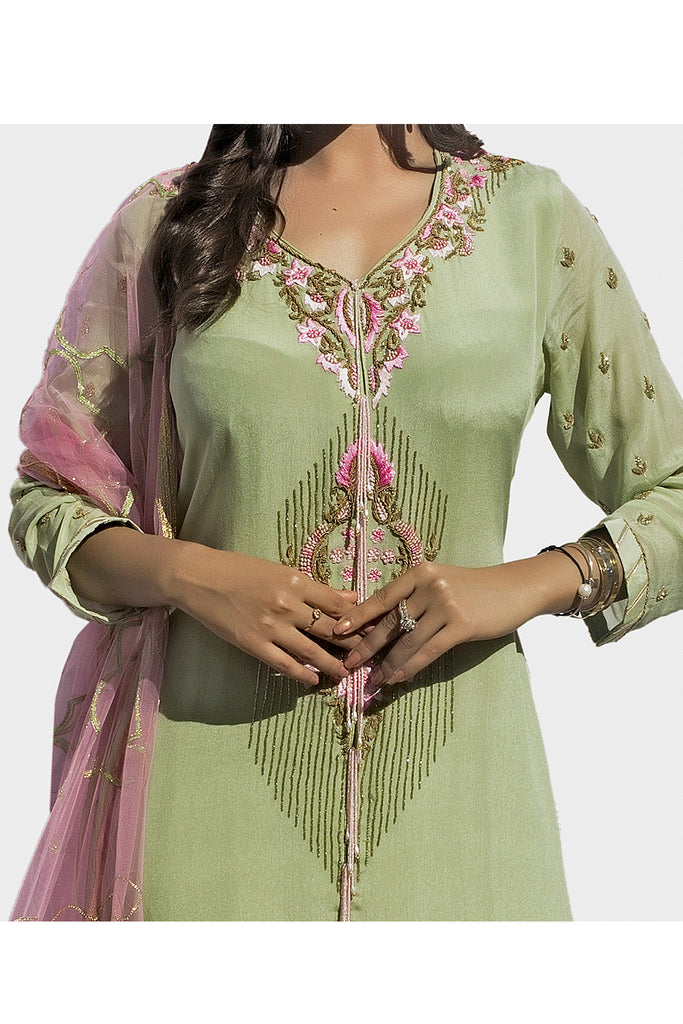 Mint Green Embroidered Suit With Three-Kali Shararra
