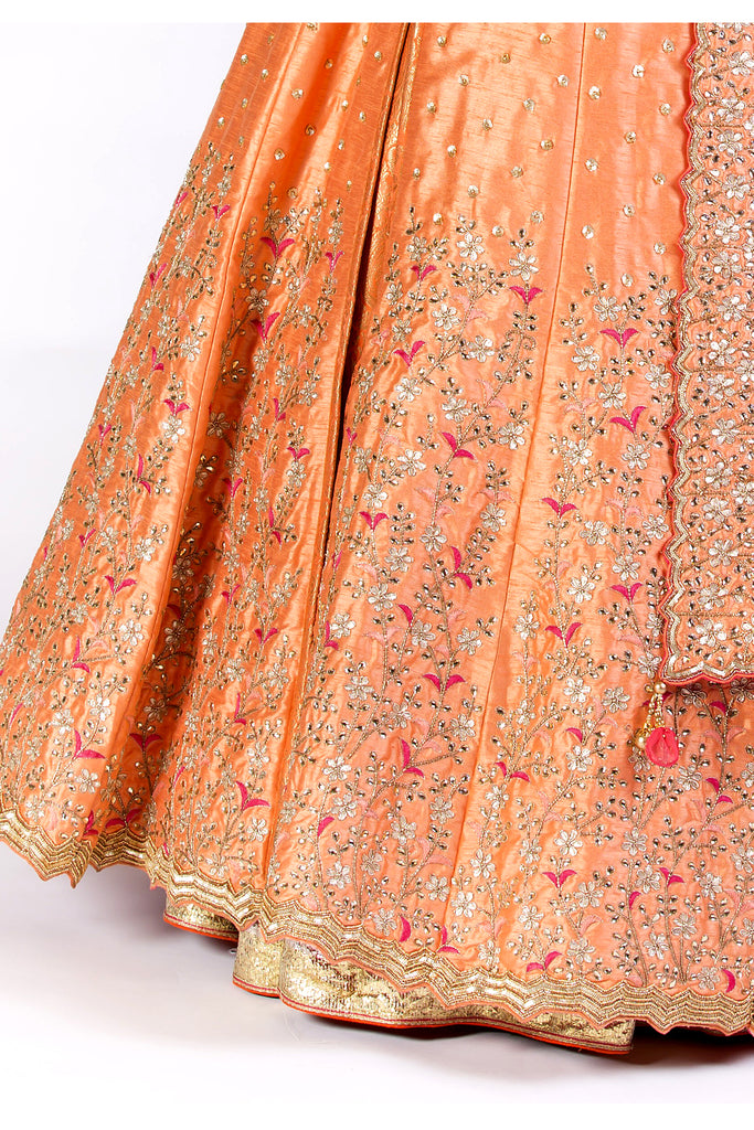 Coral Orange Embroidered Kaalidar Set