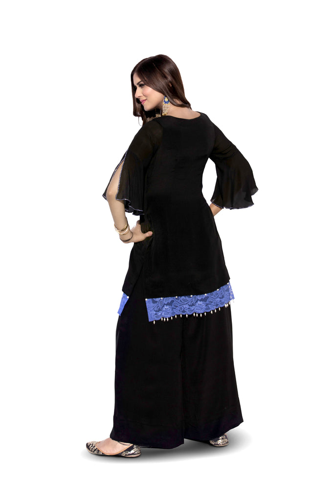 Black Embroidered Suit With Flared Pants