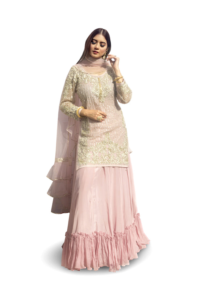 Blush pink Embroidered Suit With Ghagraa Set