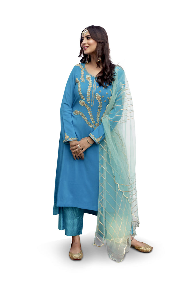 Crystal Teal Embroidered Suit With Flared Pants