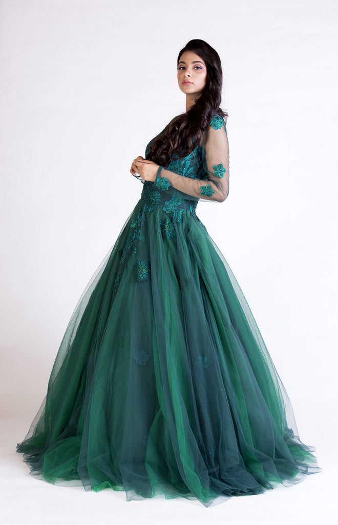 Green Floral Embroidered Gown Set