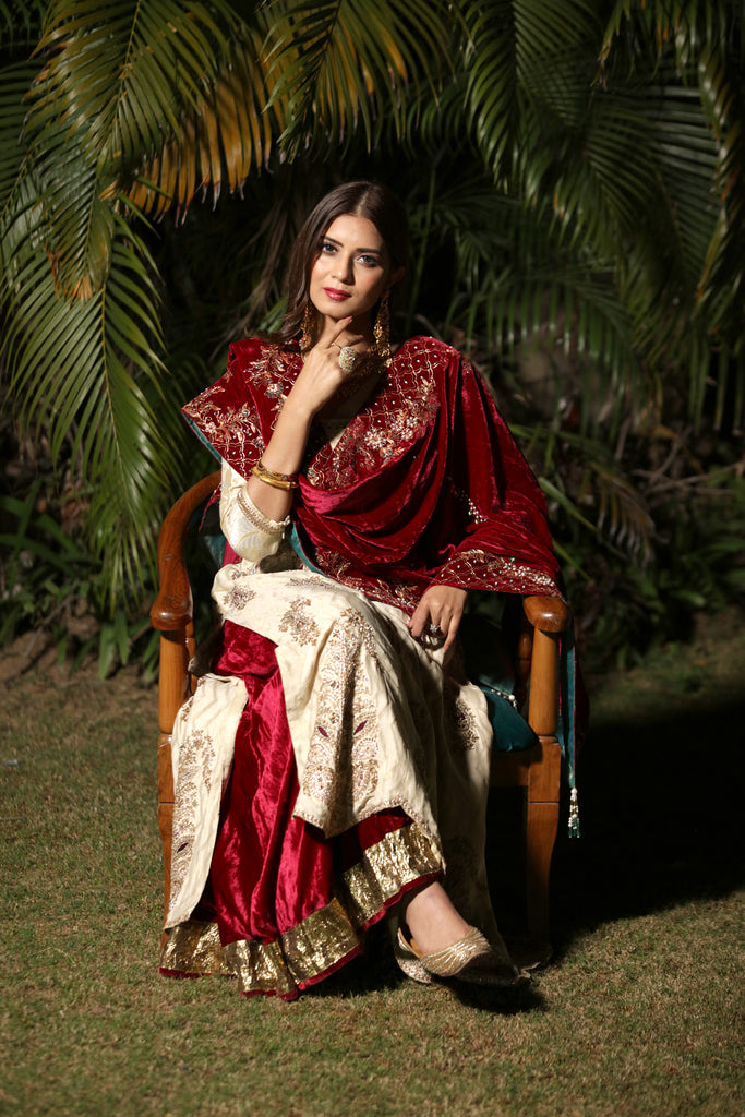 Ivory-Maroon Embroidered Kalidar Set