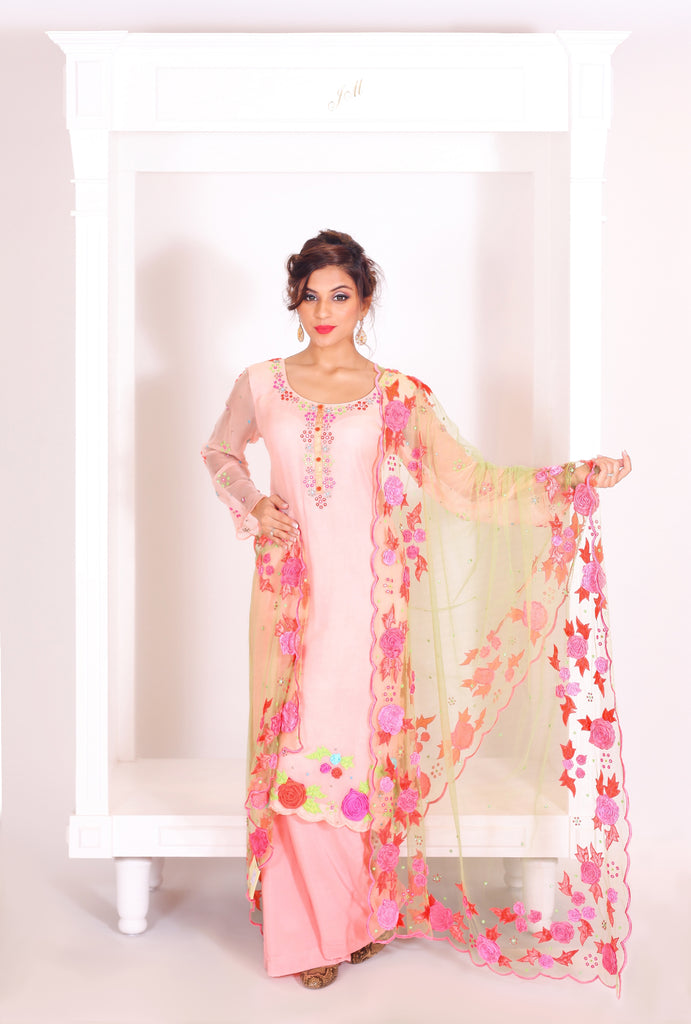 Peach Embroidered Suit With Sharrara Set