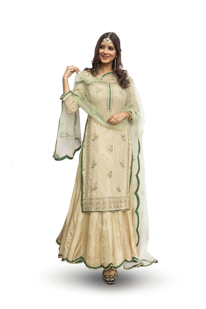 Sand Shell & Emerald Suit With Ghagraa Set