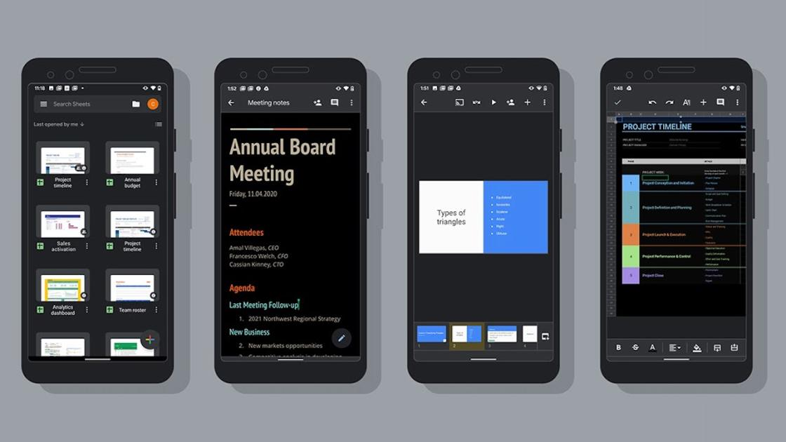 Docs, Sheets, and Slides now support dark mode on Android devices.