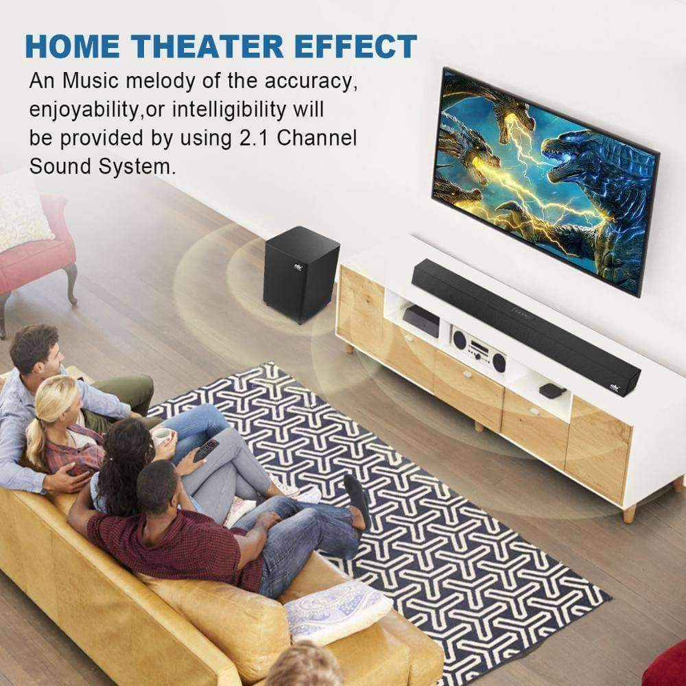 120W Home Theater Sound System Soundbar 2.1 TV Bluetooth Speaker Support Optical AUX Coaxi... Mybigfatstore