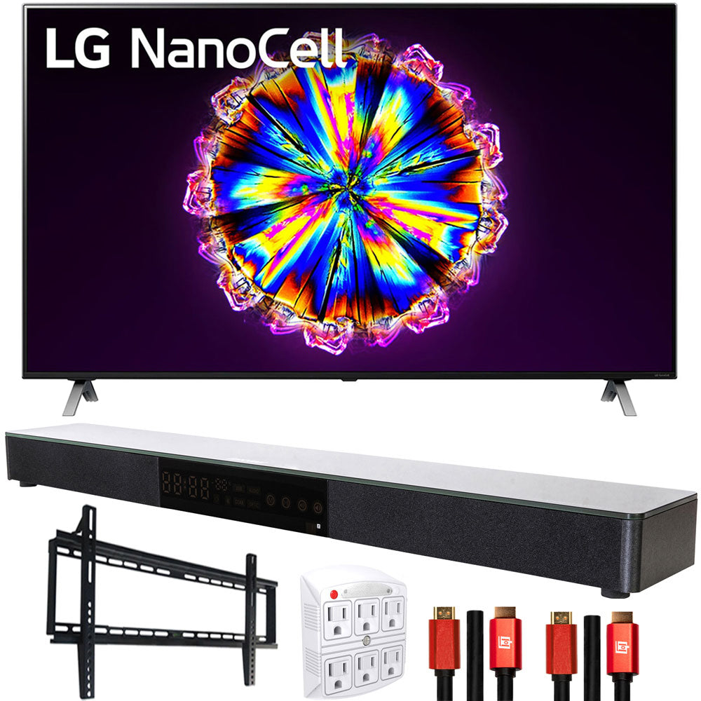 "LG 86NANO90UNA 86"" Nano 9 Series 4K Smart UHD NanoCell TV with AI ThinQ (2020 Model) with Deco Gear Home Theater Soundbar, Wall Mount and HDMI Cable Bundle(86NANO90 86 Inch TV)"