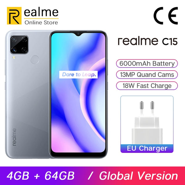Global Version Realme C15 Smartphone 4GB 64GB 6.5'' Mini-drop Screen 13MP AI Quad Cameras Helio G35 6000mAh Battery 18W Charge