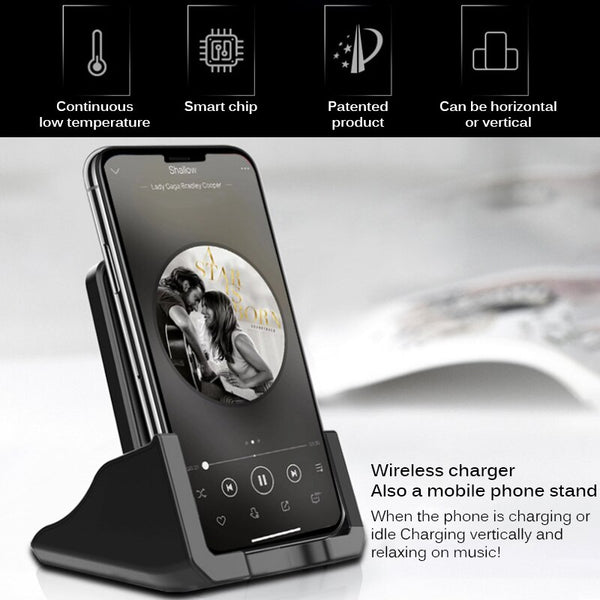 10W Smart QI Fast Wireless Charger Power For Apple IPhone 8 X XS Samsung Charger S9 S7 Edge Cellphone Bracket Phone Holder Stand