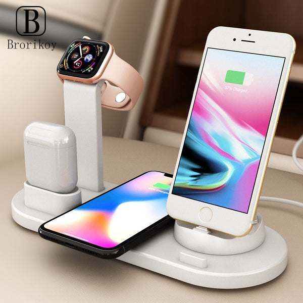 3 in 1 Wireless Charger Dock 10W 9V Fast Charging Wireless Stand for Apple Watch iPhone 11 X Xs Max Type-C Airpods Charge Holder