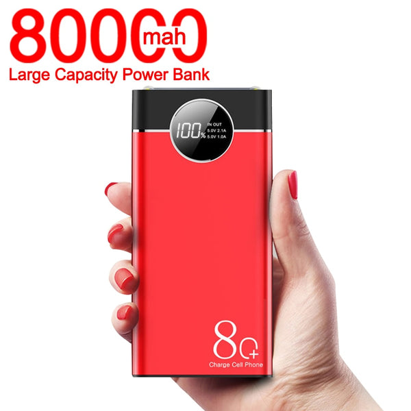 80000mAh Power Bank High Capacity Portable Phone Fast Charger LED Lighting Digital Display Outdoor Travel for Xiaomi Mi IPhone