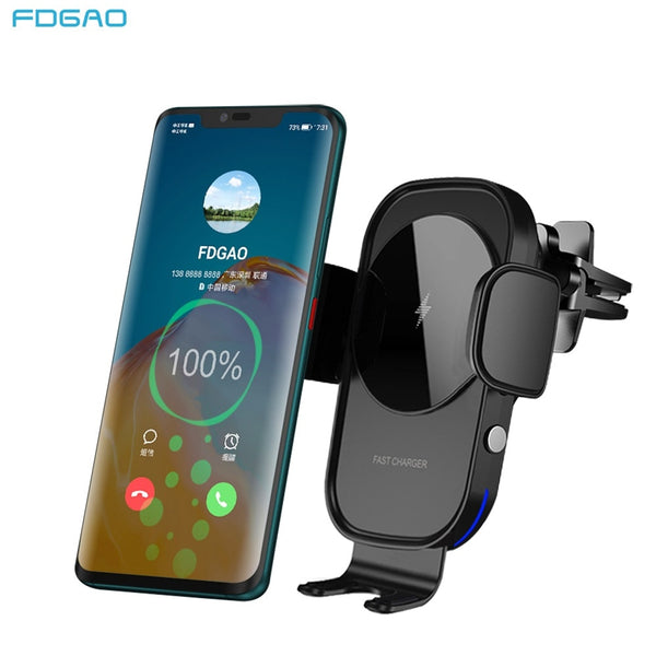 15W Fast Charge Car Phone Holder Qi Wireless Charger Automatic Clamping Air Vent Stand in Car For iPhone 11 XS X Samsung S20 S10