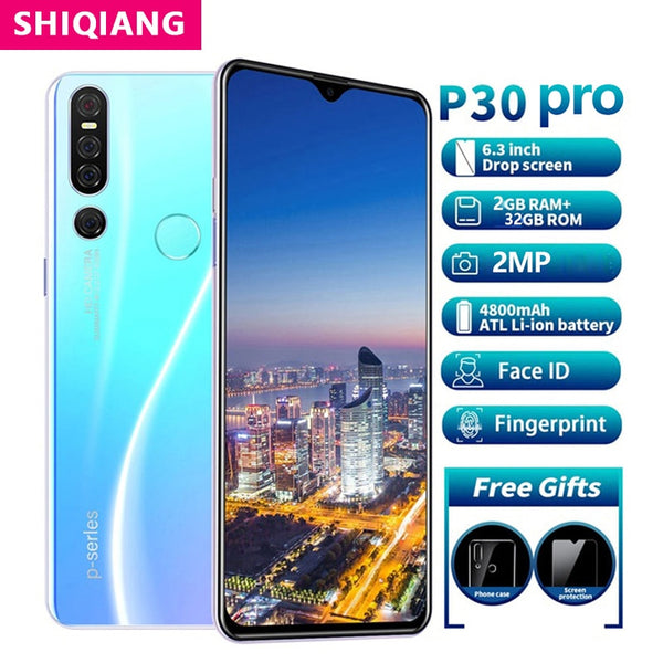 SOYES P30 Pro Mobile Phone Android Face ID Fingerprint Smartphone 6.3 inch RAM 2GB ROM 32GB 2 Sim card Beauty Camera Wifi phone