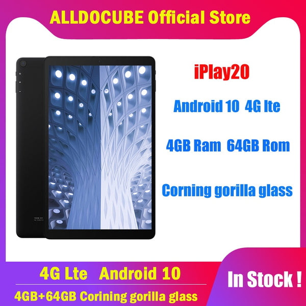 Alldocube iPlay20 4G Calling Tablets Andorid 10.0 Octa core 4GB RAM 64GB ROM 10.1 inch Tablet PC Type-C 6000mAh GPS