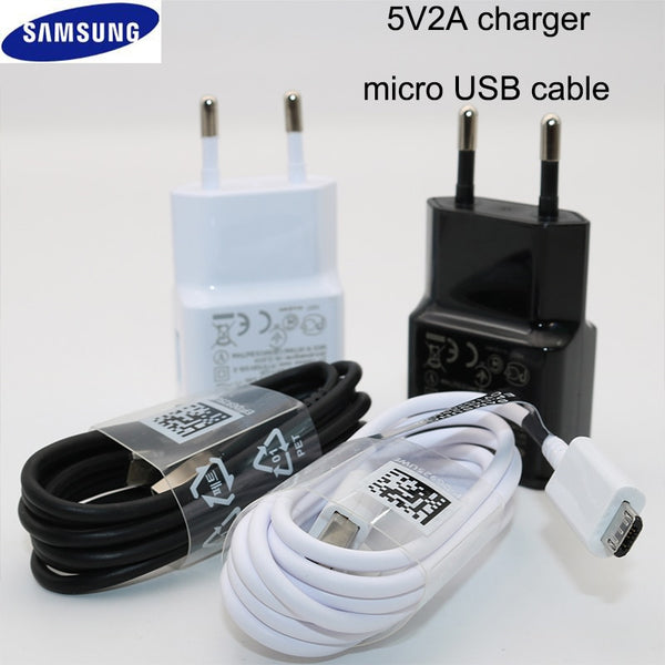 Samsung Charger EU Plug Travel Adapter 5V 2A Charge Micro USB Cable For Galaxy S7 S6 Edge J3 J5 J7 A3 A5 A7 2016 A10 Note 5 4