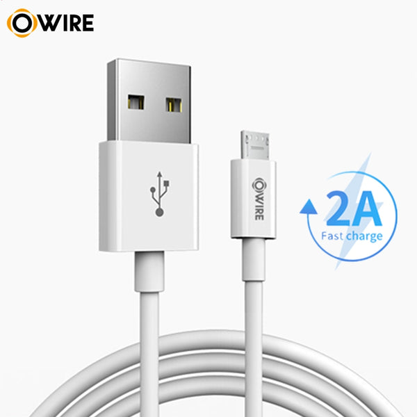 OWIRE 1Meter Micro USB Cable 2A Fast Charging Data Cable for Samsung Xiaomi LG Huawei Tablet (White 1m)