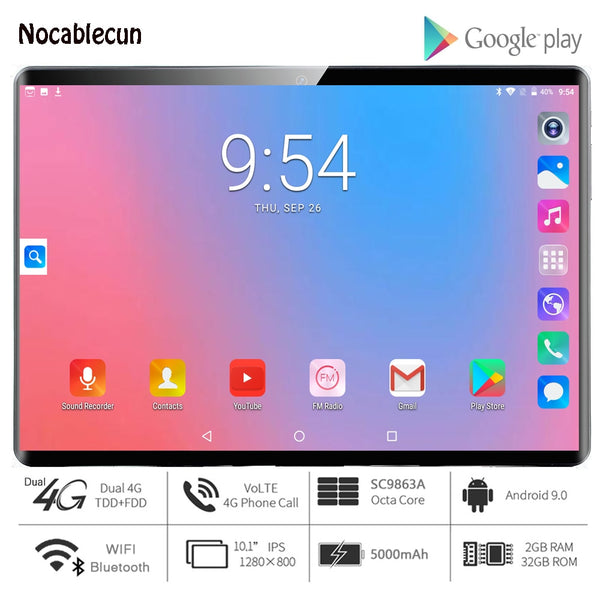 Hot New Ultra Slim 10 inch Tablet PC Octa Core 2GB RAM 32GB ROM 2.5D Tempered Glass 5.0M Camera Android 9.0 Tablet 10.1 WiFi GPS