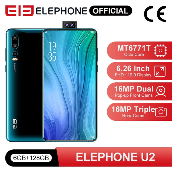ELEPHONE U2 MTK MT6771T Octa Core 6GB 128GB Cellphone 16MP Pop-up Cam 6.26