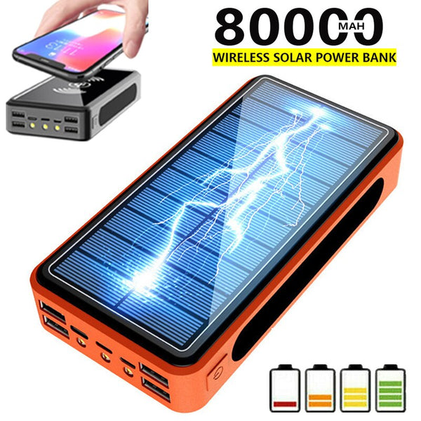 80000mAh Wireless Solar Power Bank External Battery PoverBank 4USB LED Powerbank Portable Mobile Phone Charger for Xiaomi Iphone