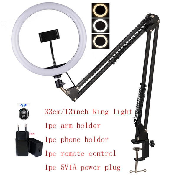 16cm 26cm 33cm Ring Light with Arm Table Holder wahite yellow 3colors lights 1pc Remote Control  Phone Holder 5V1A EU Power Plug