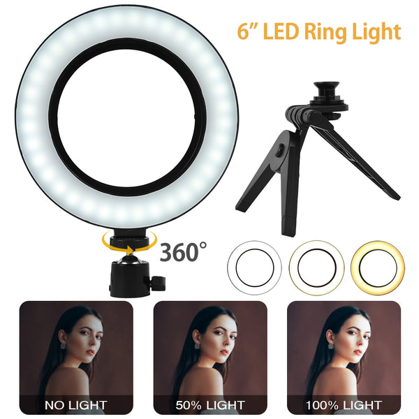 6 Inch Video Ring Light Selfie Lamp Dimmable Mini LED Desktop With Tripod Stand USB Plug For YouTube Live Photography Studio