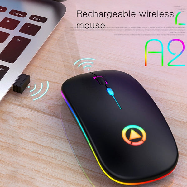 Dual mode Wireless Mouse chargeable Lightweight Portable LED Colorful Light Rechargeable Mute Mouse Bluetooth Mice for Laptop PC