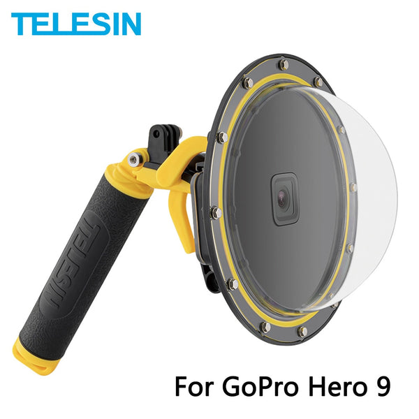 TELESIN 6'' Dome Port 30M Waterproof Housing Case With Floating Handle Trigger For GoPro Hero 9 Black Underwater Cover