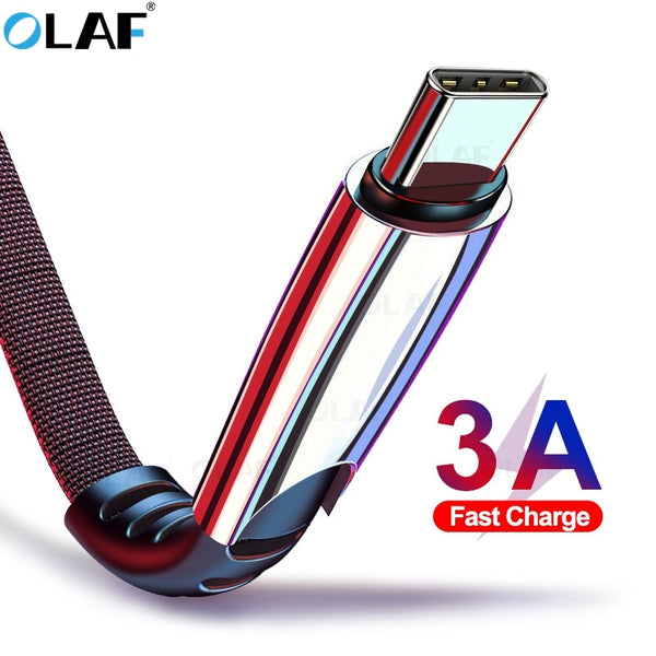 Olaf 3A Type C USB Cable USB 3.1 Fast Charging Cord Phone Charger Redmi Note 7 Samsung Galaxy S9 For Huawei P20 Lite Honor 10