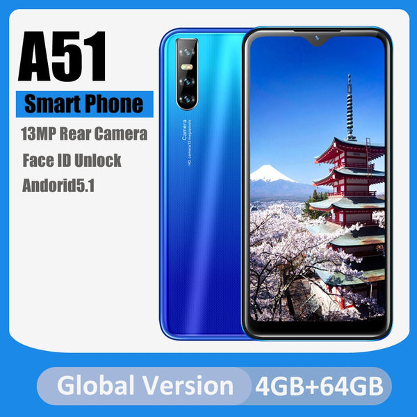 Cell Phones Unlocked A51 Quad Core Android5.1 Face ID Unlocked 6.26 inch HD Full Screen Dual Sim Card 13MP Rear Camera WCDMA/GSM
