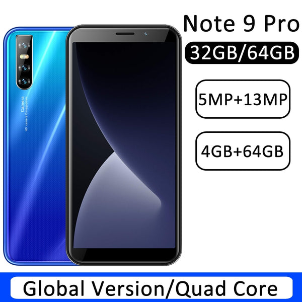 New Note 9 Pro 4GB RAM Smart phones 32GB/64GB Global ROM 13MP Rear Camera Face ID Unlock Mobile Phones WCDMA/GSM/LTE 6.0