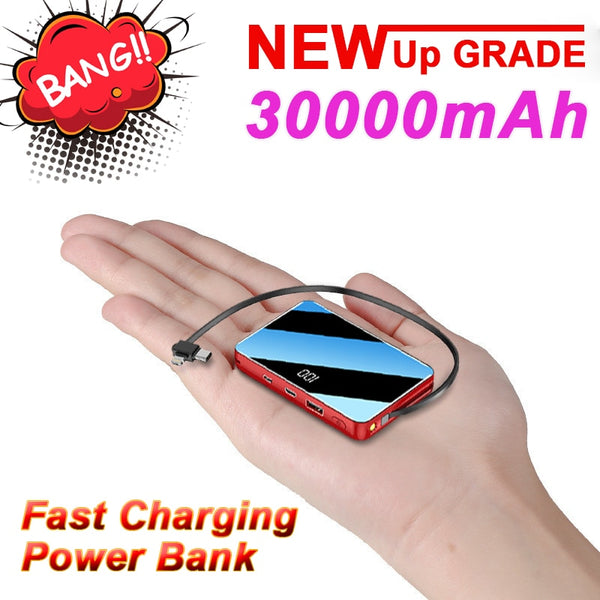 30000MAh Power Bank Mini Portable Charger Large Capacity Outdoor Travel Emergency Power Bank 2USB Port for IPhone Xiaomi Samsung