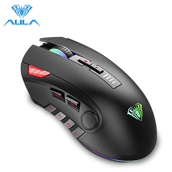 AULA H512 RGB Backlight Gaming Mouse 12 Buttons Programming 5000 DPI Optical USB Wired Mouse with Fire Keys For Laptop Desktop (Black)