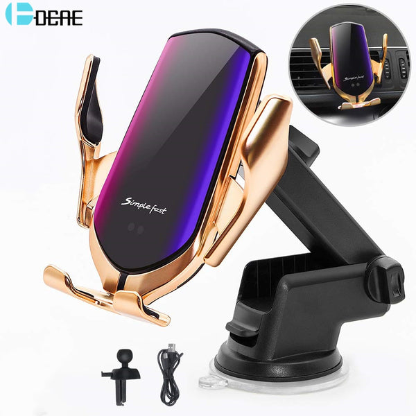 Sensor Auto Clamping Qi Wireless Car Charger Mount Air Vent Phone Holder 10W Fast Charging for iPhone 11 XS XR 8 Samsung S20 S10