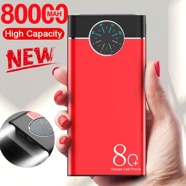 80000mAh Power Bank Dual USB Large Capacity LED Lights Quick Charge Portable Fast Charging Powerbank for IPhone Samsung Xiaomi