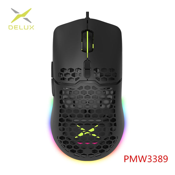 Delux M700 PMW3389 RGB Gaming Mouse 67g Lightweight Honeycomb Shell Ergonomic Mice with Soft rope Cable For Computer Gamer