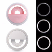 RK-12 Mini Mobile Phone LED Beauty Fill Light Clip Camera Adjustable Brightness Mobile Phone White Ring Light Home Photography