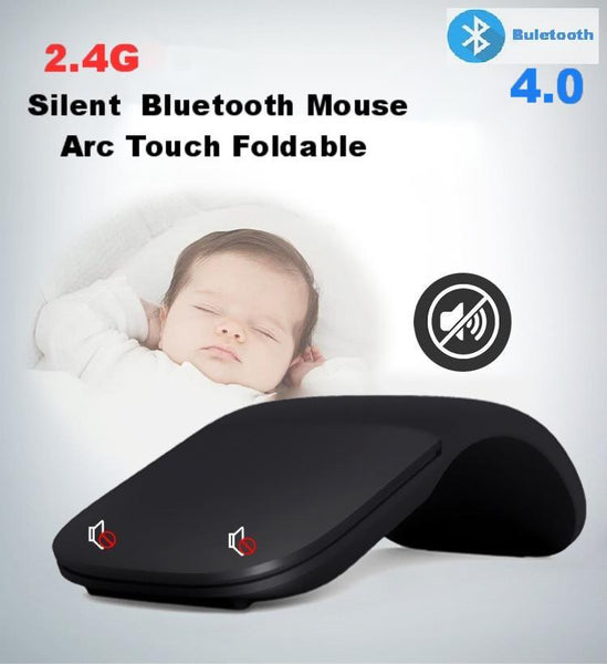 2.4G Silent  Wireless  Mouse Arc Touch Foldable Mice Ultra Thin Laser Gaming Folding Mause For Microsoft PC Laptop