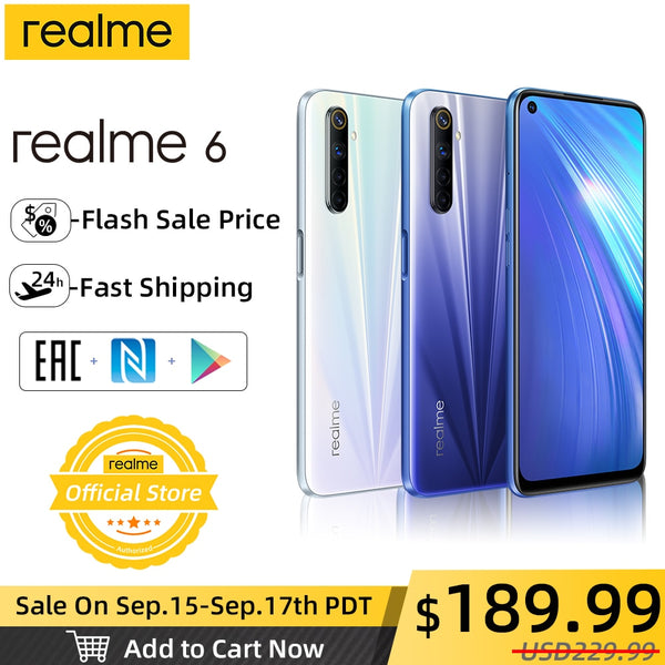 [Flash Sale Price $189.99]realme 6 NFC Global Version 4GB 128GB Mobile Phone 90Hz Display Helio G90T 30W Flash Charge 64MP Cam