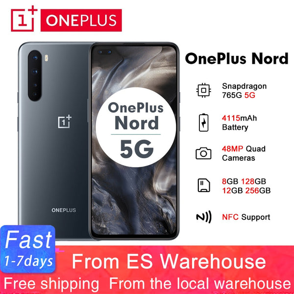 2020 OnePlus Nord 5G 6.44'' Snapdragon 765G 8GB 128GB Smartphone 48MP Quad Camera 4115mAh 90Hz AMOLED Display NFC Mobile Phone