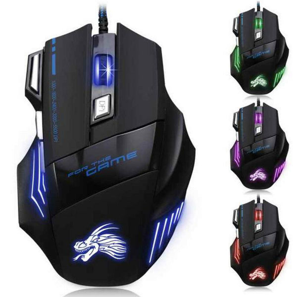 Professional Ergonomic Wired Gaming Mouse 7 Button 5500 DPI USB Computer Mouse Gamer Silent Mause With LED Light For PC Laptop (color random)