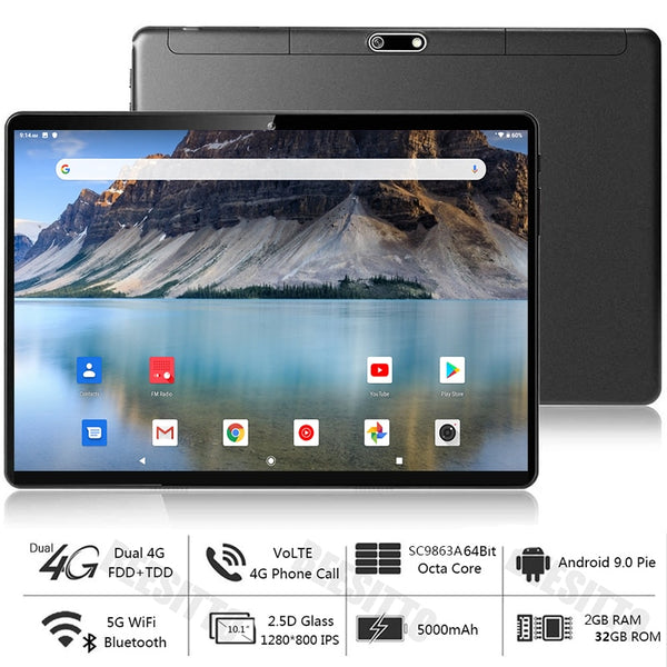 Global Version Dual SIM 4G LTE 10 inch Tablet PC Phablet 5G WiFi 2+32GB ROM Android 9.0 Octa-Core IPS 1280*800+Gift 64GB TF Card