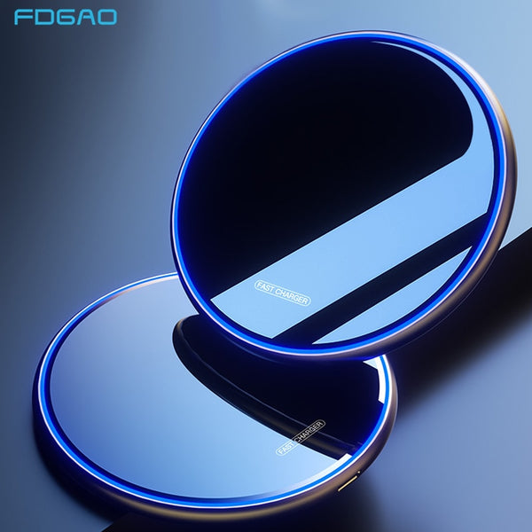 FDGAO 15W Qi Wireless Charger For iPhone 11 Pro Xs Max X Xr 8 Plus Induction Fast Wireless Charging Pad For Samsung S20 S10 S9