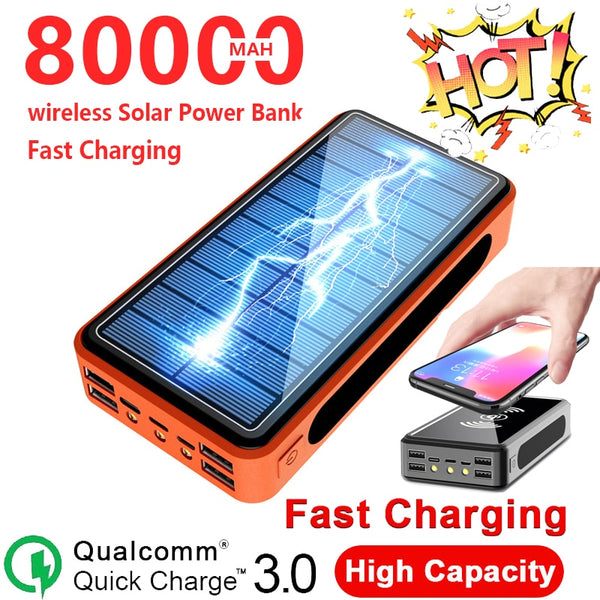 80000mAh Wireless Solar Power Bank 4 USB 3LED Lights Large Capacity Outdoor Camping LED Light Charger for IPhone Xiaomi Samsung