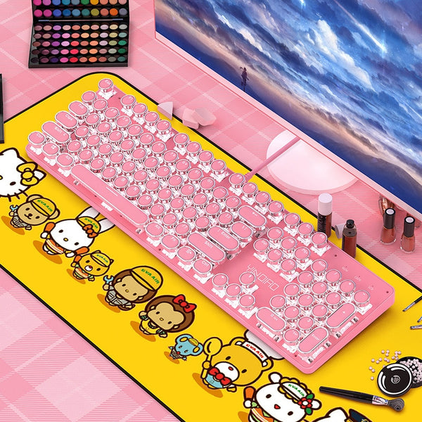 Mechanical keyboard green axis cute girl girl heart powder keyboard round button punk gaming keyboard green axis series