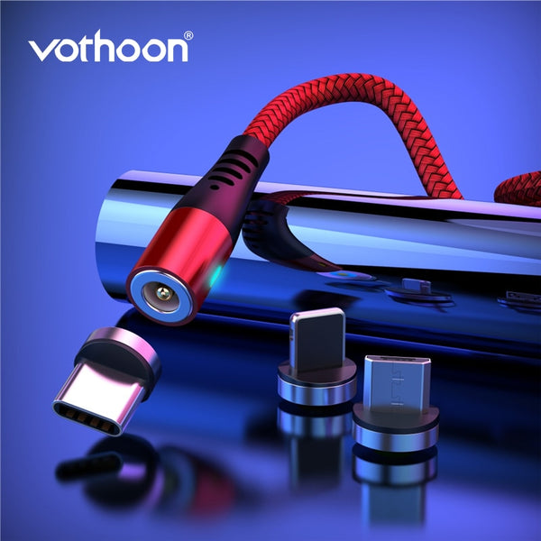 Vothoon 2.4A Magnetic Charging Cable USB Type C Micro USB Cable For iphone 11Pro Xs Samsung S7 Xiaomi Magnet Charging Wire Cord